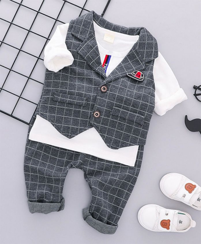 Pre Order - Wonderland 3 Piece Checkered Waist Coat & Tee With Full Length Bottom - Grey