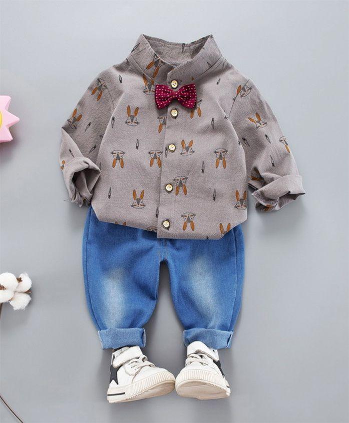 Pre Order - Wonderland All Over Bunny Face Printed Shirt & Full Length Jeans Set - Grey
