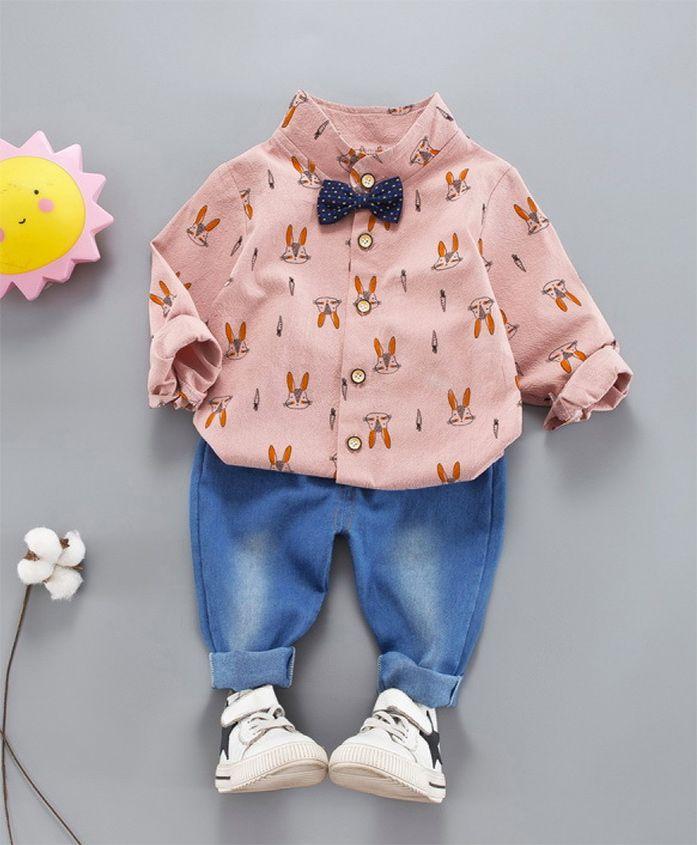 Pre Order - Wonderland All Over Bunny Face Printed Shirt & Full Length Jeans Set - Pink