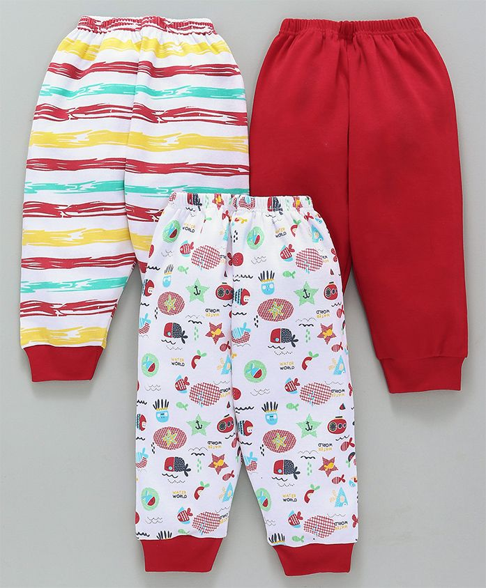 Mini Donuts Lounge Pants Marine Print Pack of 3 - Red White