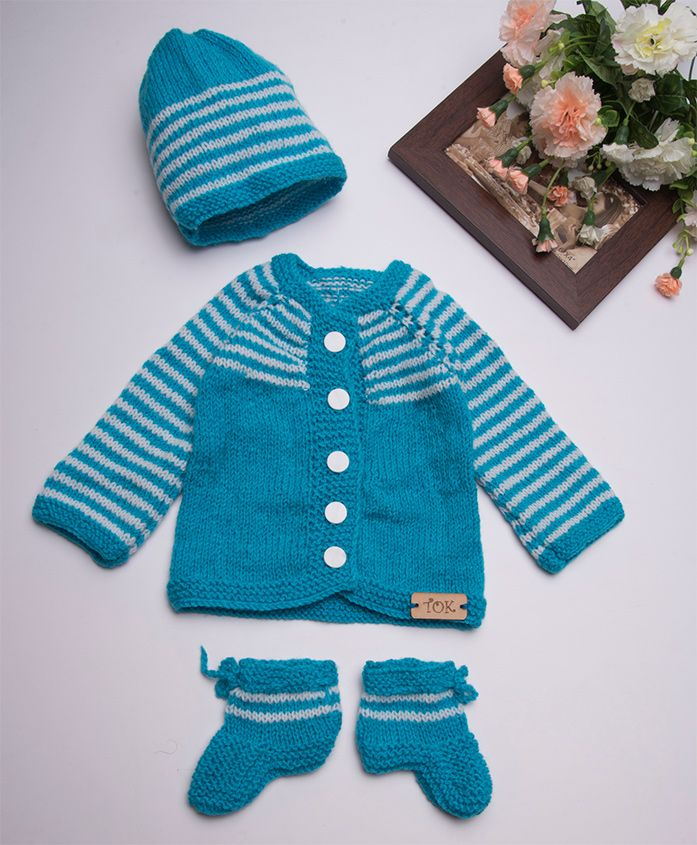 The Original Knit Striped Sweater Set With Cap & Booties - Blue & White