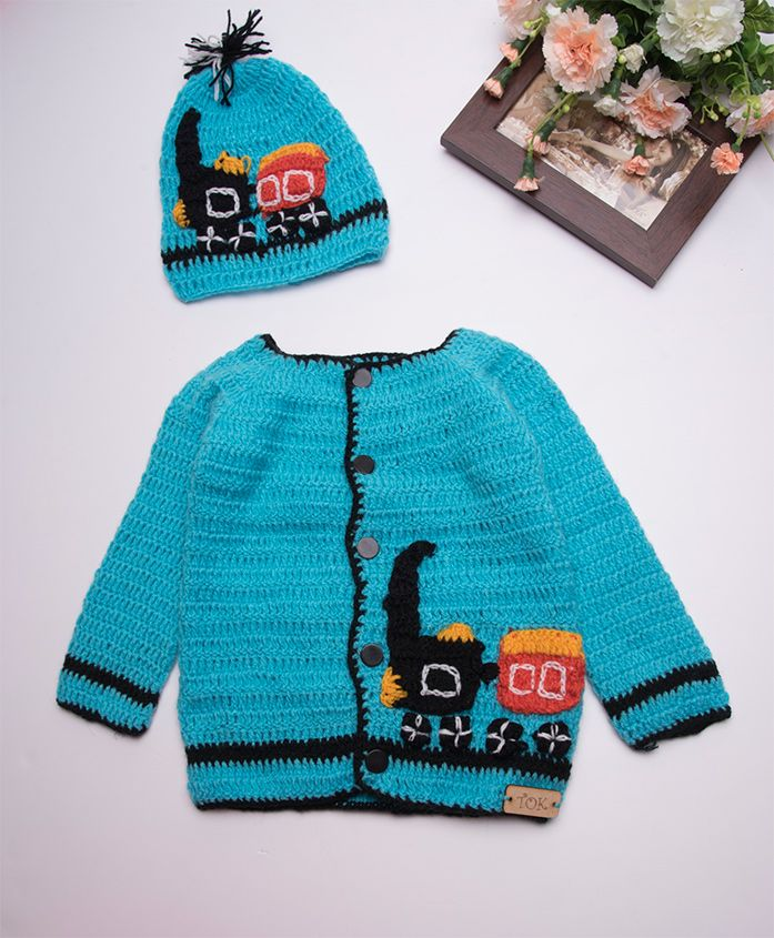 The Original Knit Vehicle Design Sweater With Cap - Blue