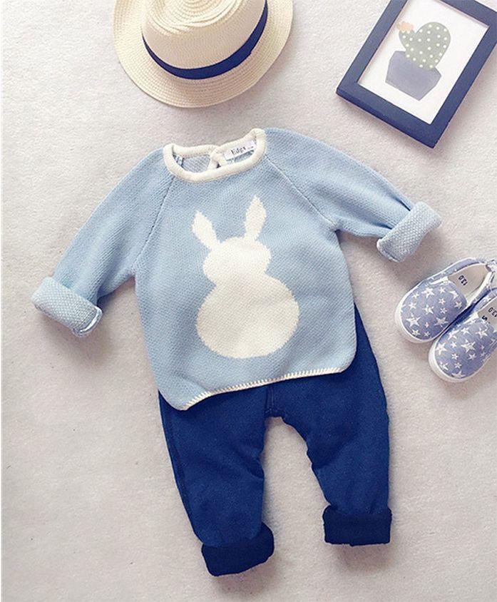 Pre Order - Awabox Bunny Print Sweater - Blue