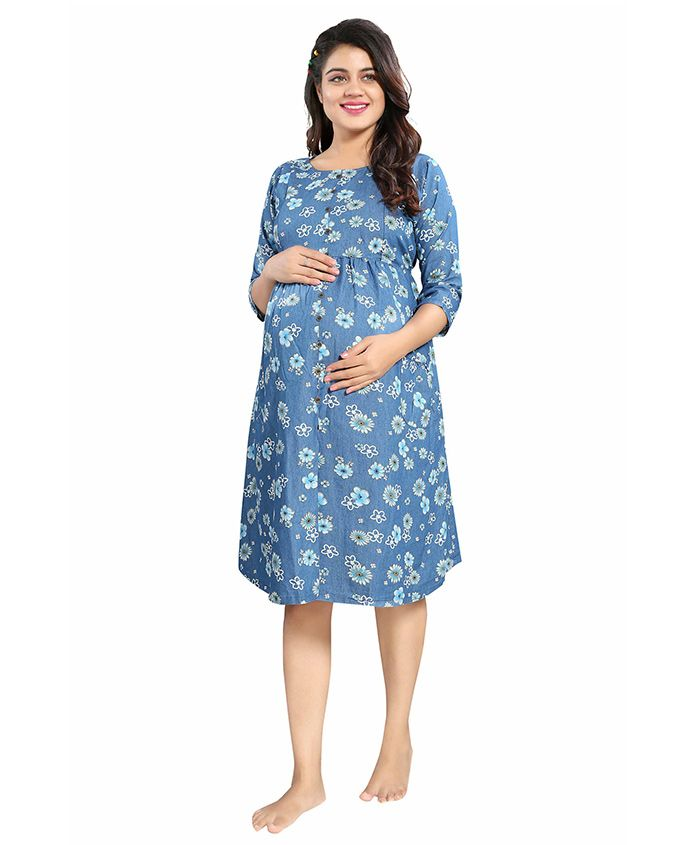 Mamma's Maternity Three Fourth Sleeves Maternity Dress Floral Print - Blue