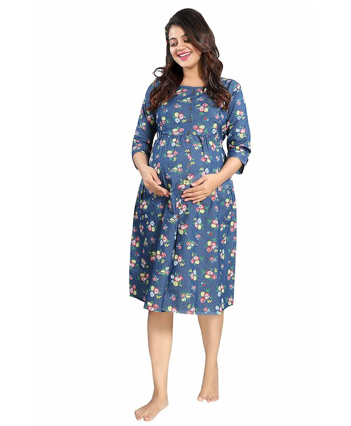 Mamma's Maternity Three Fourth Sleeves Maternity Dress Floral Print - Dark Blue