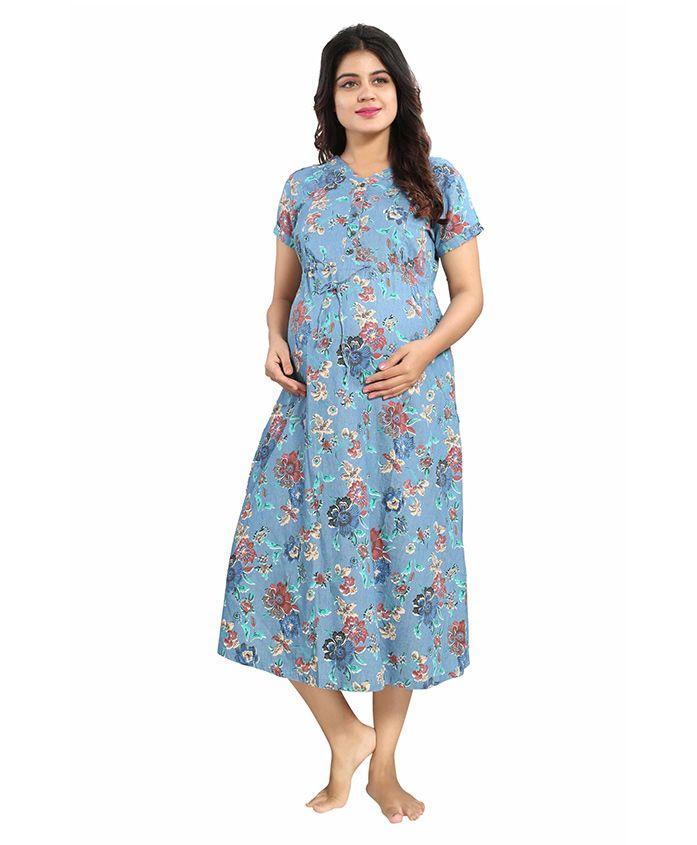 Mamma's Maternity Short Sleeves Denim Dress Floral Print - Light Blue - 2217769