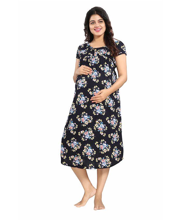 Mamma's Maternity Short Sleeves Rayon Dress Floral Print - Navy Blue