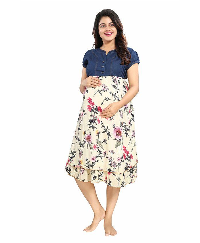 Mamma's Maternity Short Sleeves Rayon Dress Floral Print - Blue Cream