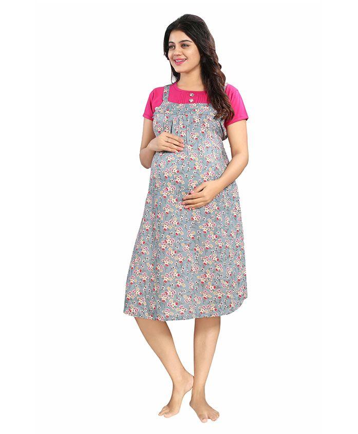 Mamma's Maternity Short Sleeves Rayon Dress Floral Print - Pink Grey