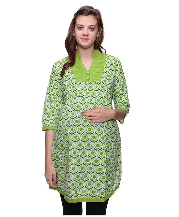 Mamma's Maternity Three Fourth Sleeves Nursing Kurti Floral Print - White Green