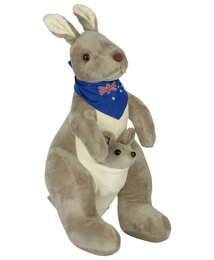 Dhoom Soft Toys Kangaroo With Scarf Grey Blue - Height 40 cm