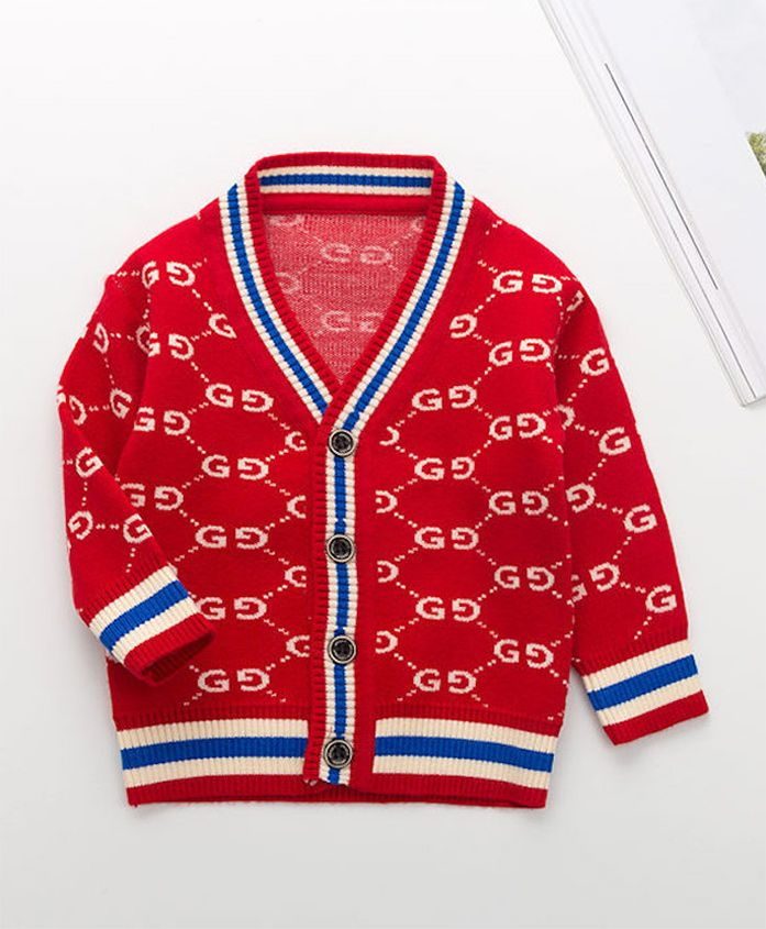 Pre Order - Awabox All Over Print Front Open Sweater - Red