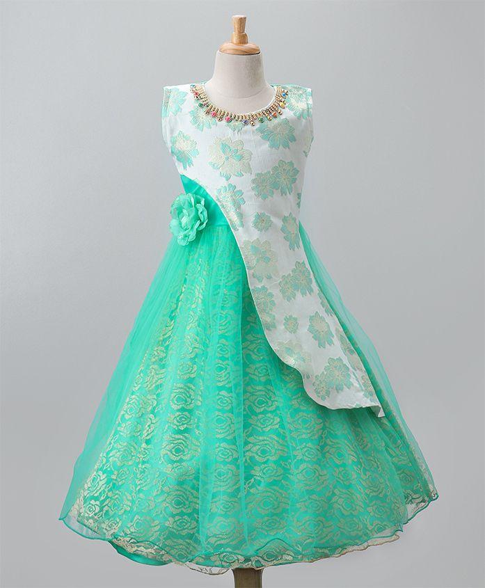 Aarika Flower Applique Self Floral Print Party Wear Gown - Green