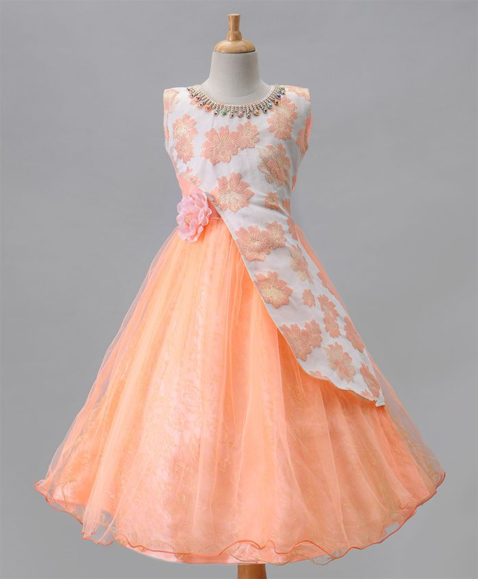 Aarika Flower Applique Self Floral Print Party Wear Gown - Peach