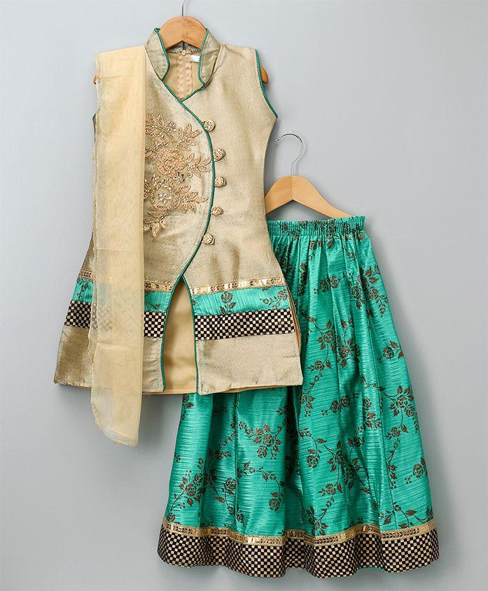 Aarika Self Design Lehenga Kurta With Dupatta Set - Green