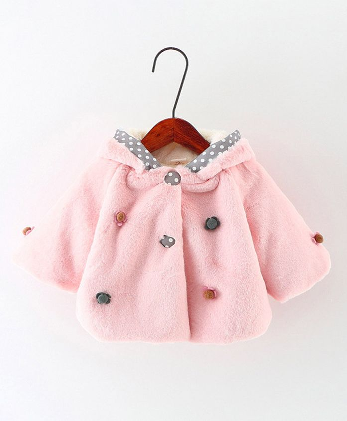 Pre Order - Awabox Polka Dot Furr Coat - Pink