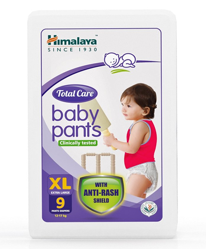 Himalaya Herbal Total Care Baby Pants Style Diapers Extra Large - 9 Pieces