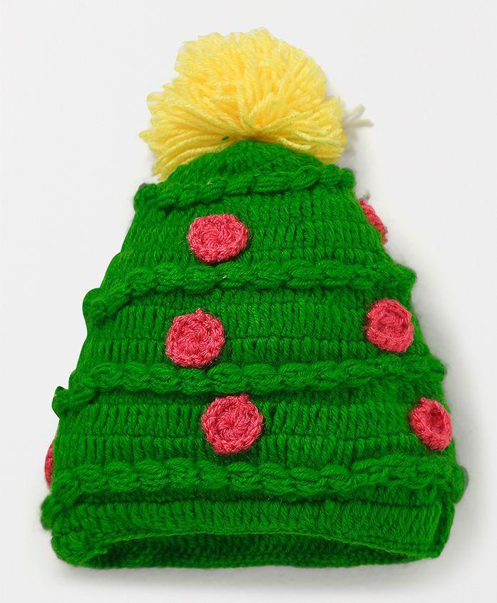 MayRa Knits Cap With Pom Pom - Green