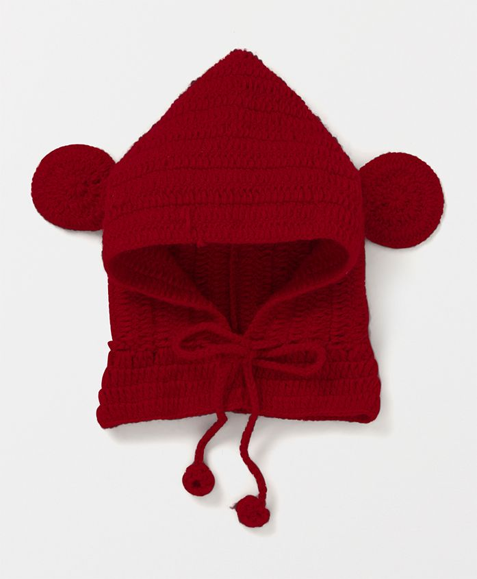 Mayra Knits Woolen Cap With Ears - Red