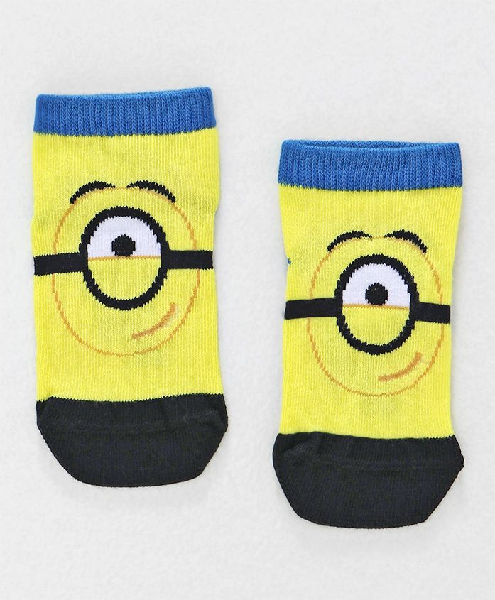 Mustang Ankle Length Socks Minions Design - Yellow Royal Blue