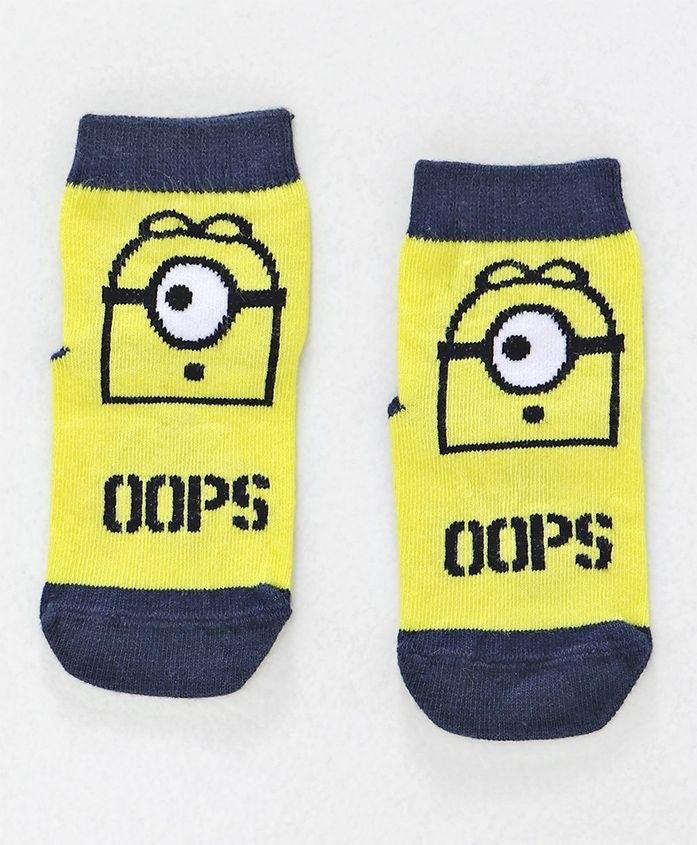 Mustang Ankle Length Socks Minions Design - Yellow Navy Blue