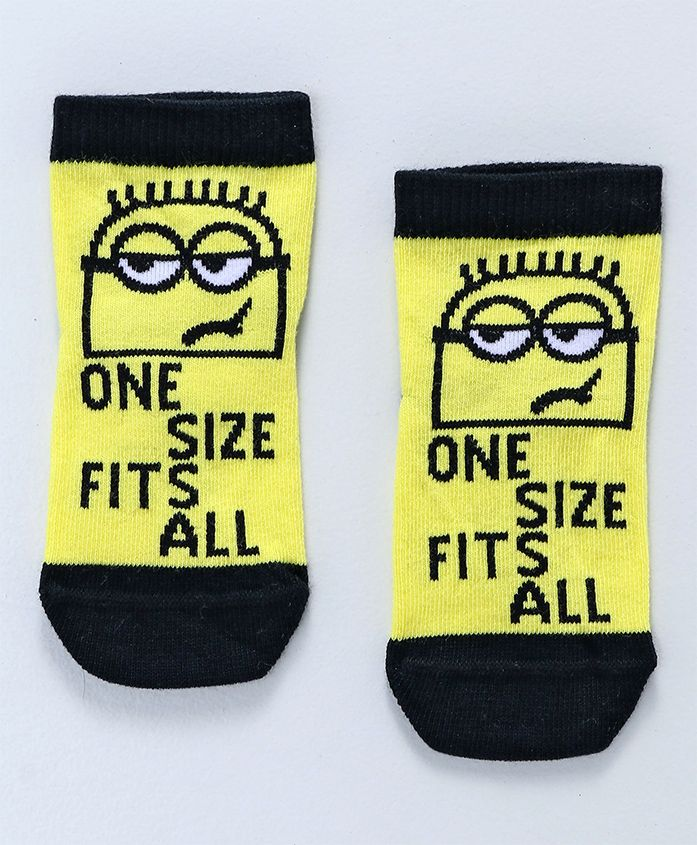 Mustang Ankle Length Socks Minions Text Design - Yellow Black