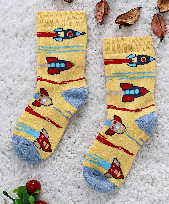 Mustang Mid Calf Length Socks Rocket Design - Yellow