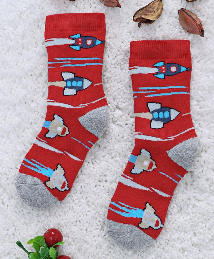 Mustang Mid Calf Length Socks Rocket Design - Red