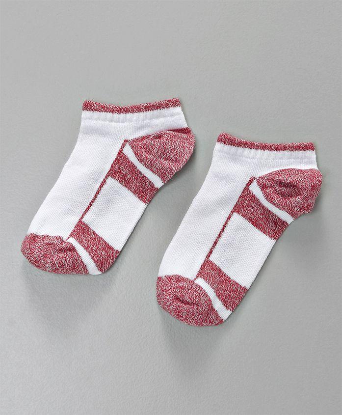 Mustang Ankle Length Socks - White & Red