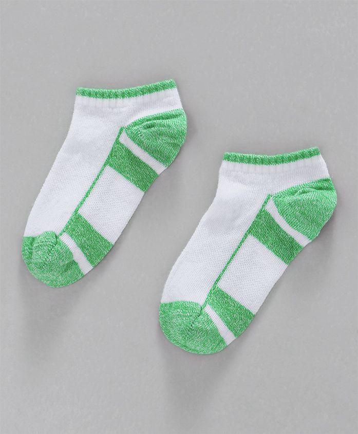 Mustang Ankle Length Socks - White & Green