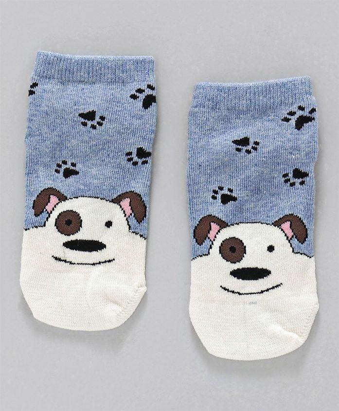Mustang Ankle Length Socks Puppy Design - Blue