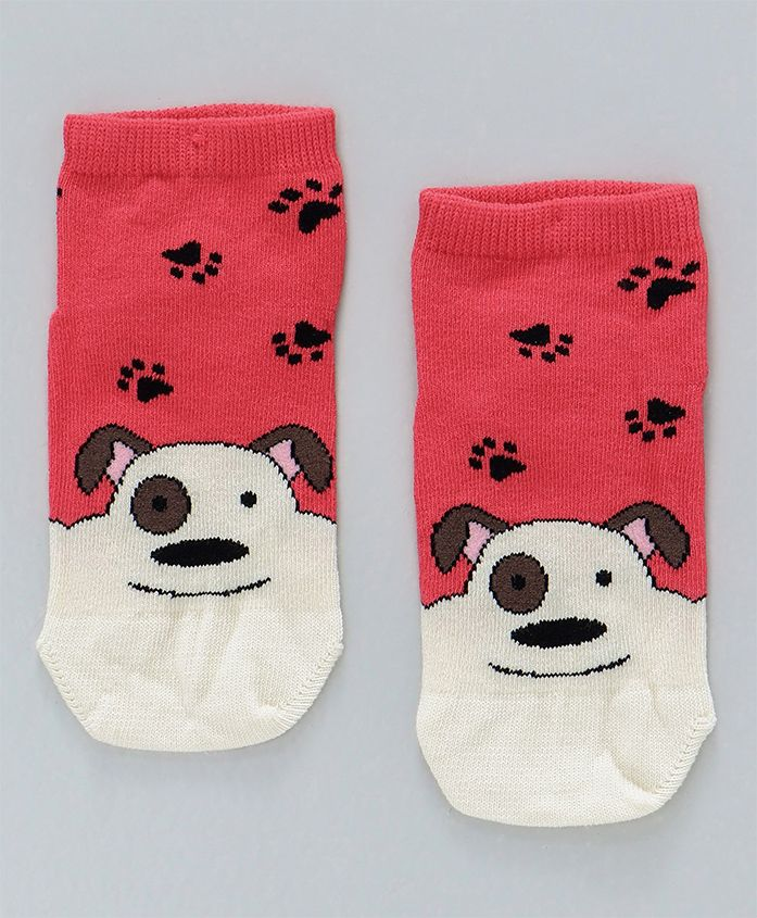 Mustang Ankle Length Socks Puppy Design - Red