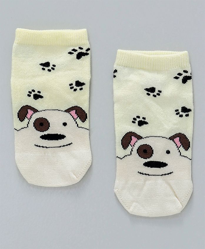 Mustang Ankle Length Socks Puppy Design - Lemon
