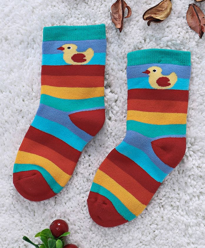 Mustang Quarter Length Striped Socks Duck Design - Red Teal