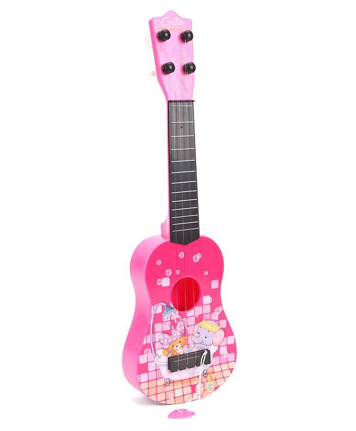 Musical Acoustic Guitar Cartoon Design - Pink