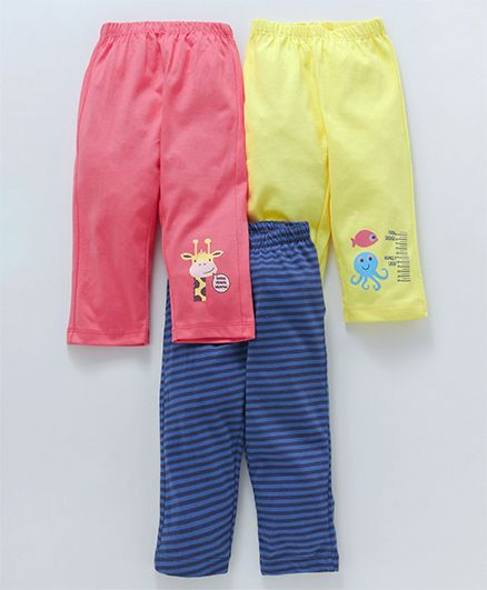 Ohms Full Length Lounge Pants Striped & Animal Print Pack of 3 - Pink Yellow Blue