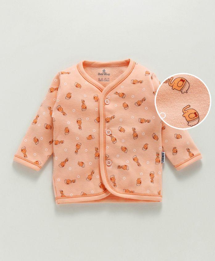Child World Full Sleeves Cotton Vest Elephant Print - Peach