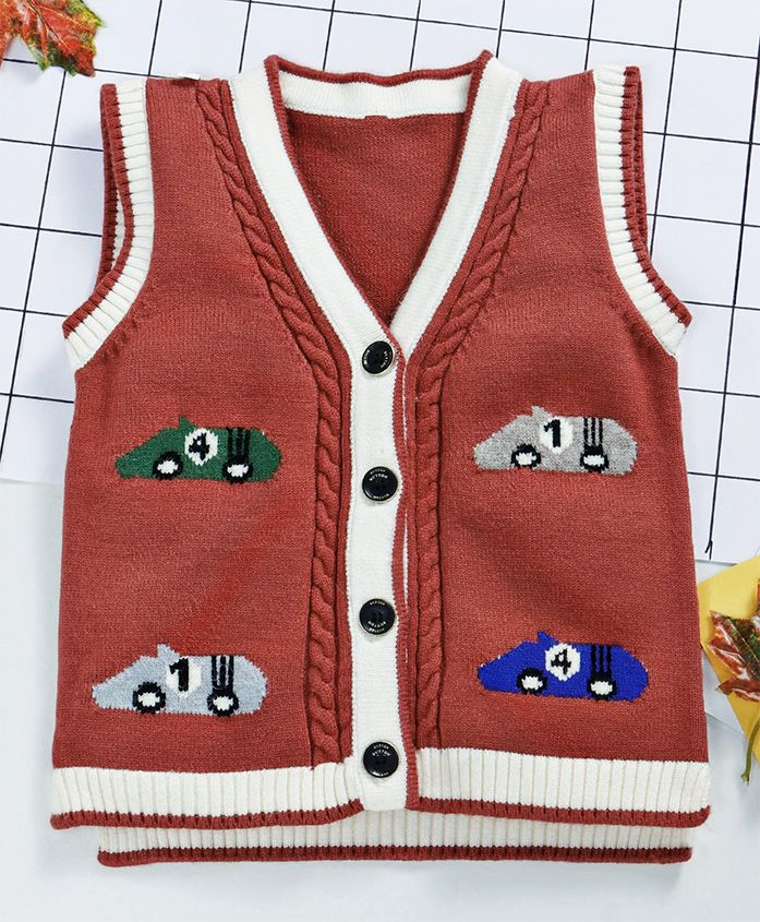Kookie Kids Car Print Sleeveless Sweater - Brown