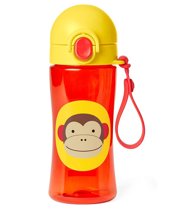 Skip Hop Zoo Lock Top Sipper Bottle Monkey Print Red - 414 ml
