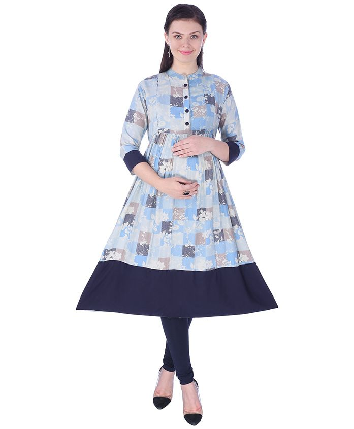 MomToBe Three Fourth Sleeves Maternity Kurti Floral Print - Denim Blue