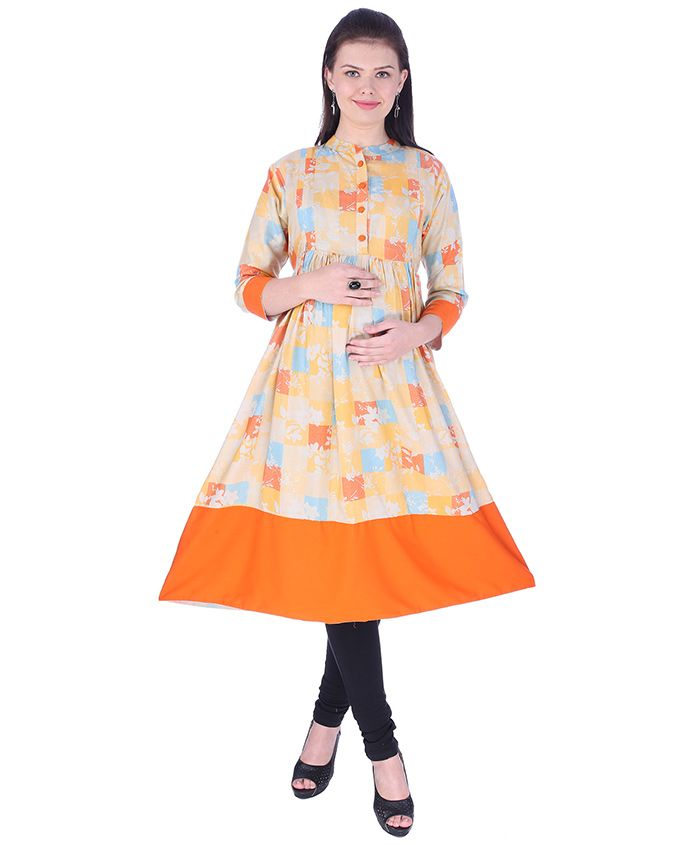 MomToBe Three Fourth Sleeves Maternity Kurti Floral Print - Orange