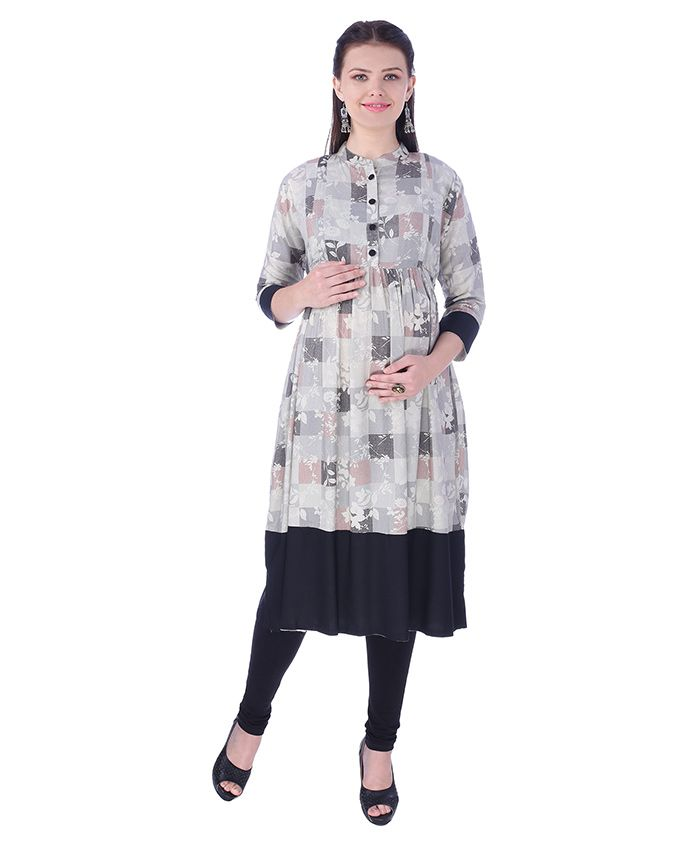 MomToBe Three Fourth Sleeves Maternity Kurti Floral Print - Ink Black