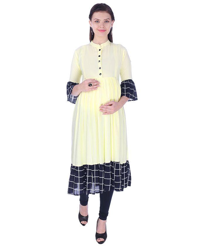 MomToBe Three Fourth Sleeves Maternity Kurti - Lemon Yellow