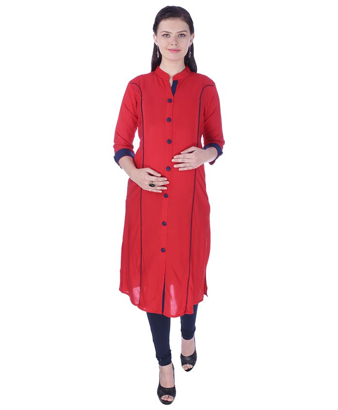 MomToBe Three Fourth Sleeves Maternity Kurti - Candy Red