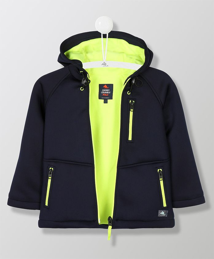 Cherry Crumble California Hooded Jacket With Zip Pocket At Front - Navy Blue