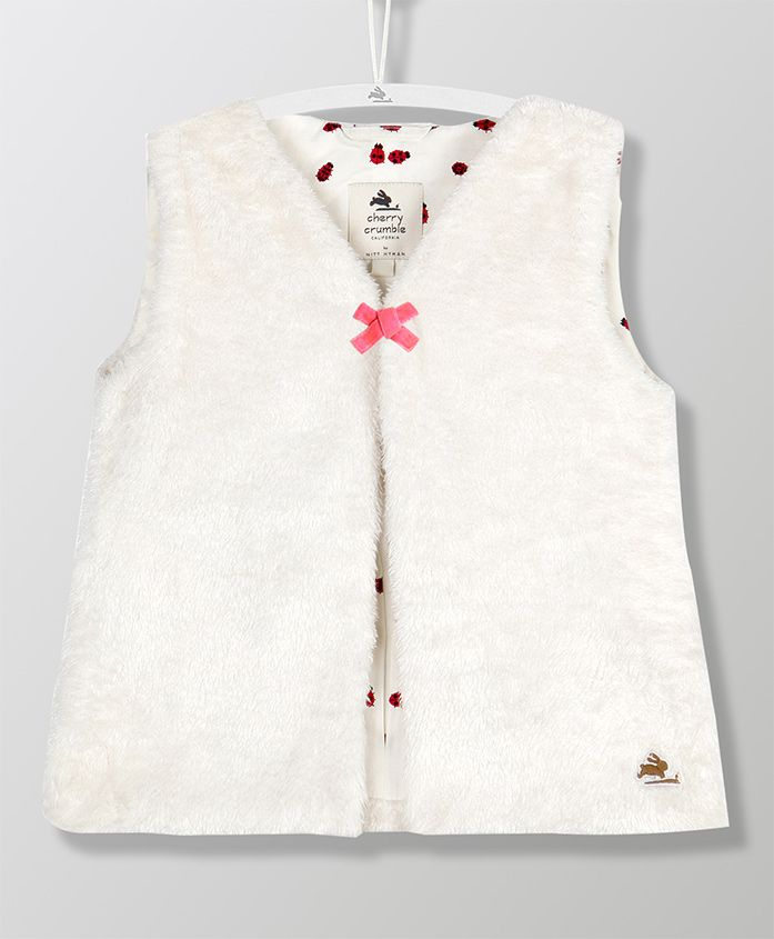 Cherry Crumble California Sleeveless Jacket - White