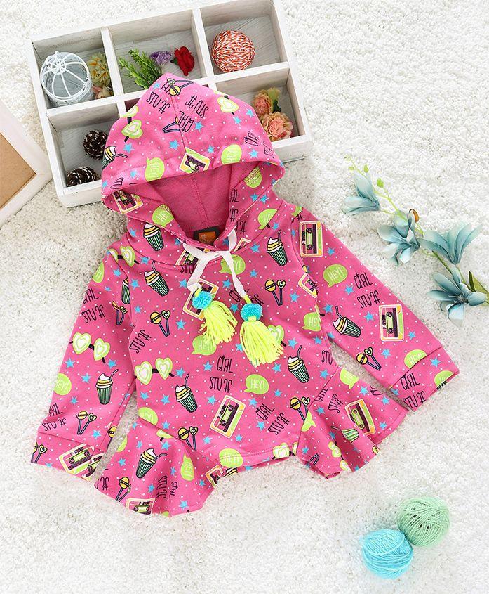 Little Kangaroos Full Sleeves Hoodie With Pom Pom Star Print - Pink