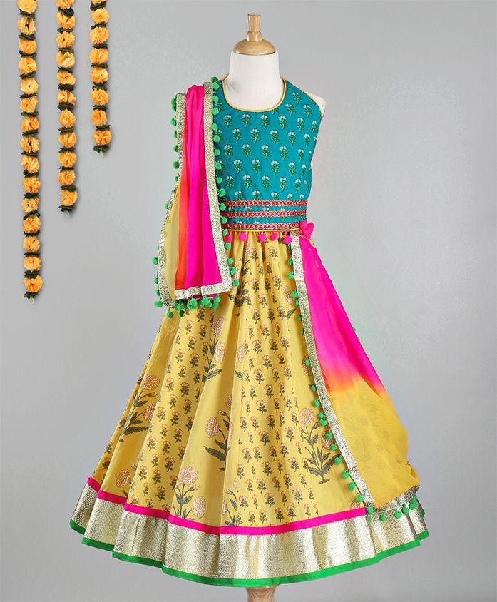 Kids Chakra Floral Buds Choli & Lehenga With Dupatta Set - Blue & Yellow