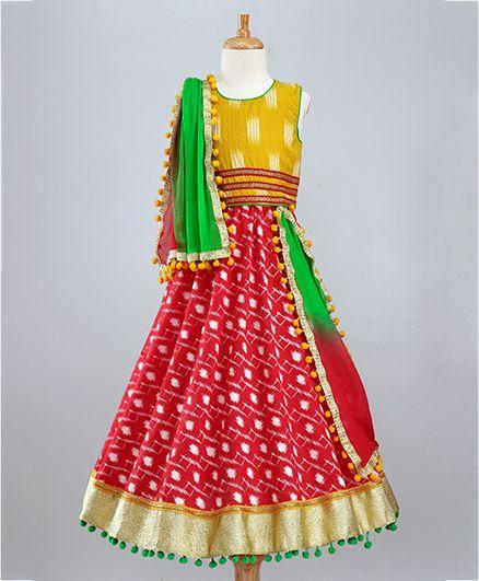 Kids Chakra Printed Ghagra Choli & Dupatta Set - Yellow & Red