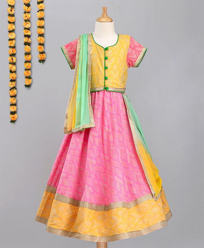 Kids Chakra Printed Choli With Dupatta & Lehenga Set - Pink